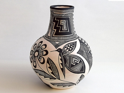 painted vase with hummingbird
