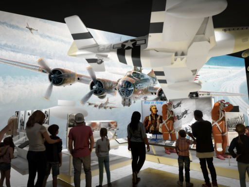 Rendering of crowd staring at exhibition with airplanes