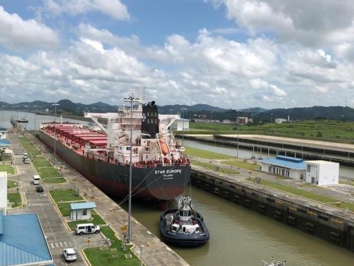 Ship moving through Panama Canal lock