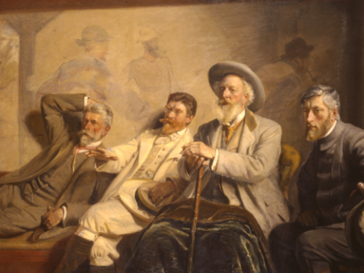 Oil painting of four old gentlemen