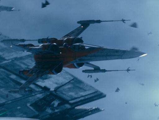 Film still of spaceships flying