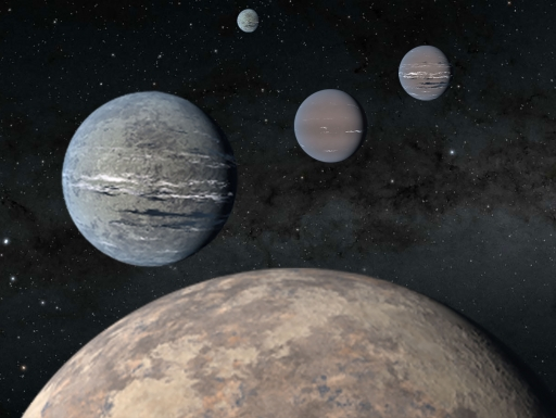Artist rendering of five planets of various sizes