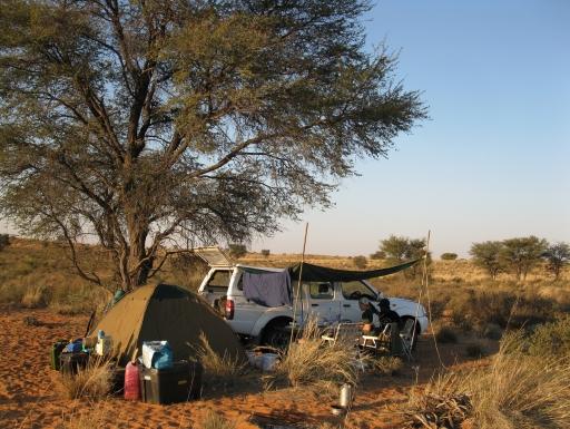 Camp on savannah under tree