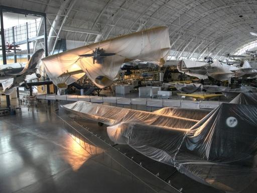 shrouded planes in hangar