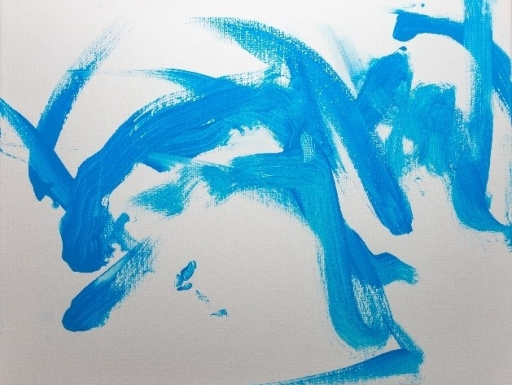 Blue swirls of paint created by Tian Tian