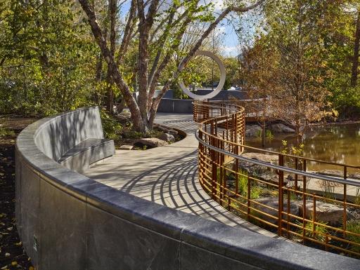 National American Indian Veterans Memorial as approached via walkway