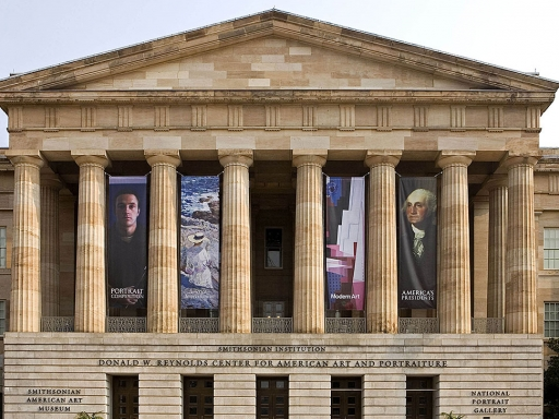 Building exterior with grand columns.
