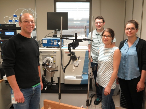 Proteomics group with equipment.