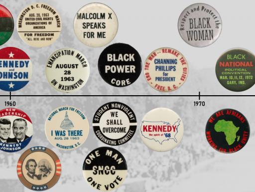 an assortment of political pushpin buttons along a timeline