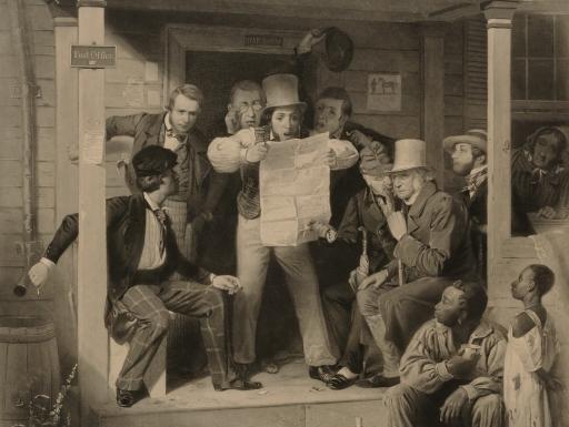 people looking at newspaper.