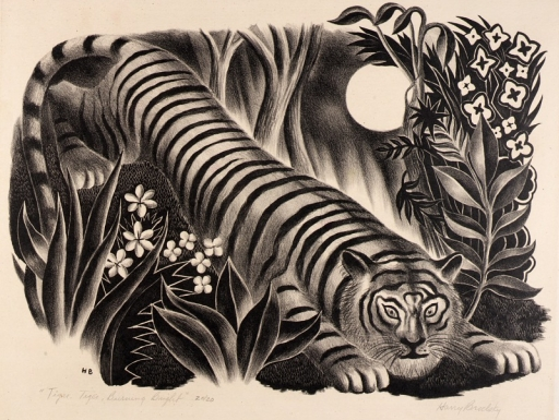 Black and white tiger illustration.