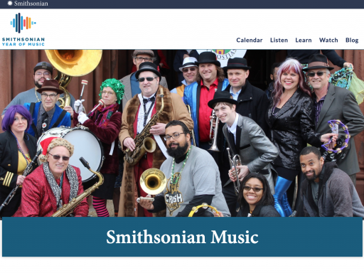 Screen capture of the Smithsonian Music website homepage