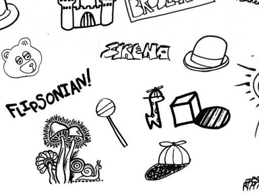 "black ink cartoon doodles on white background with ""Flipsonian"" text in the middle left"