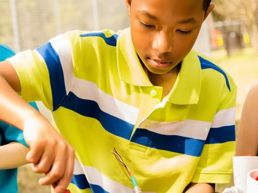 boy concentrating on project