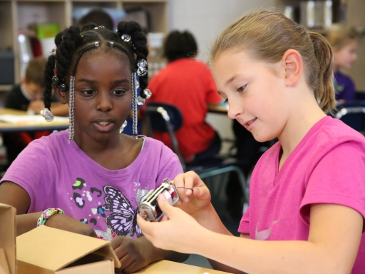 Two young girls working with science project.