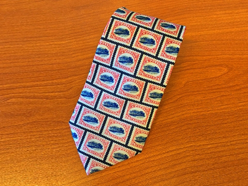 tie with stamps on it