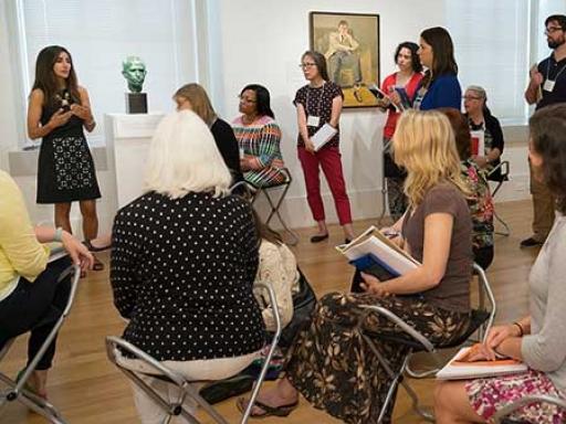 Teacher workshop in an art gallery.