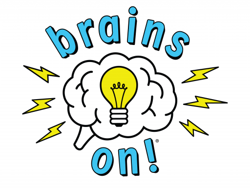 Brains On! Logo with brain and lightbulb