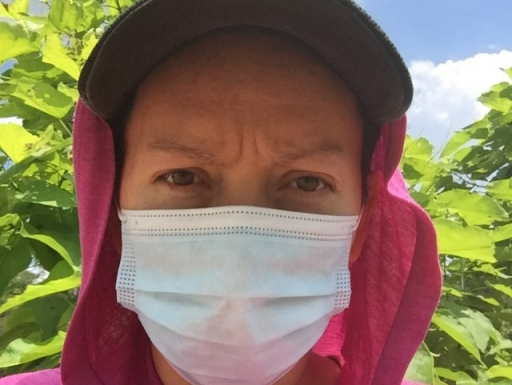 agricultural worker in a mask