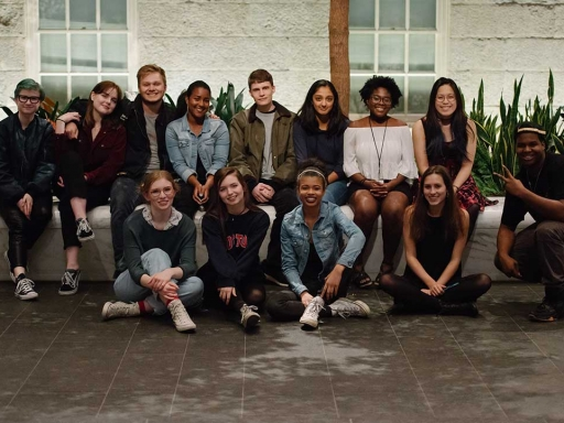 fun teen group photo in the Kogod Courtyard