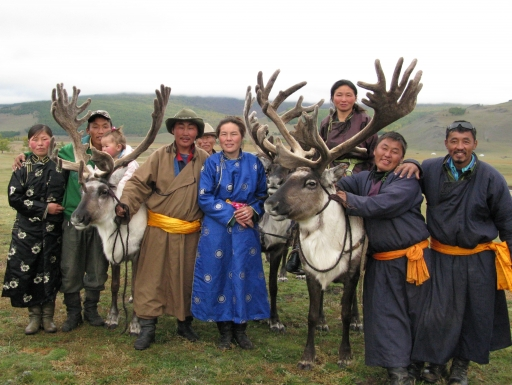 Tsaatan guides with their wives, children, and reindeer, Darkhad Valley, northern Mongolia, Sept 2009. Credit: Paula DePriest