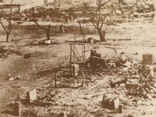 ruins of Greenwood District looking flattened.