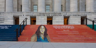 mural painted on the steps of the Reynolds center with inspiring quotes about civil rights and access.