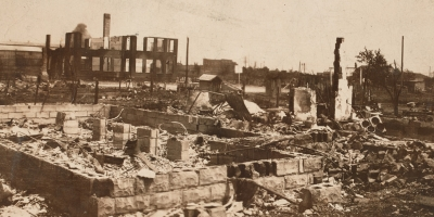 Photograph of destruction in Greenwood after the Tulsa Race Massacre