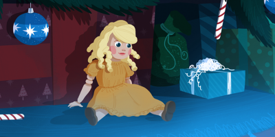 illustration of doll in front of a Christmas tree