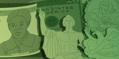 illustration of money and portraits