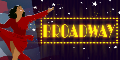 woman in red dress in front of a Broadway sign