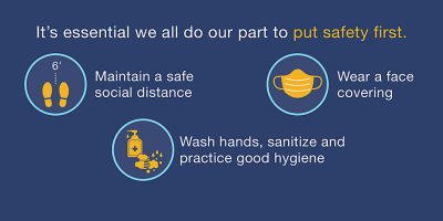 Put safety first. Social distance. Wash hands. Wear a face cover.