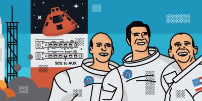 illustration of Apollo crew.