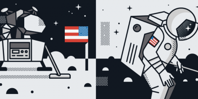 moon lander and space walk illustration