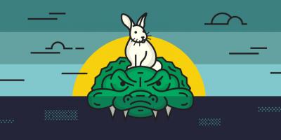 illustration of rabbit on an alligator