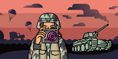 soldier with a camera