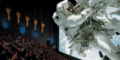 Visitors enjoying a 3D IMAX film.