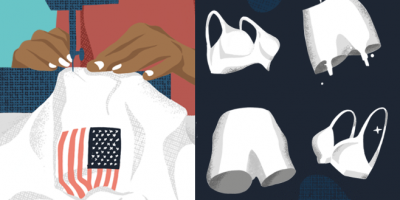graphic collage of space suit related items.