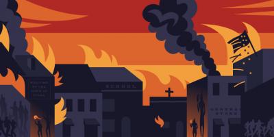 illustration of burning Greenwood buildings