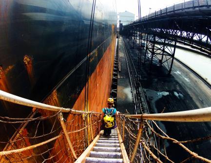 Biologist descending gangway on ship
