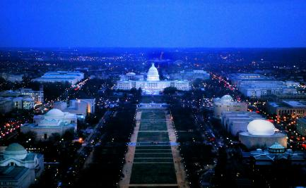 National Mall at night with Hirshhorn bubble illustration