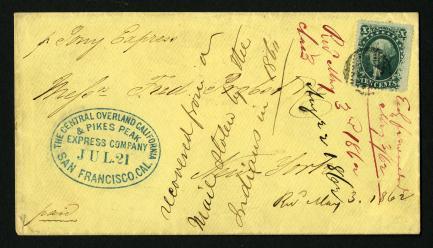 10c Washington on Pony Express cover stamp
