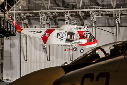 Coast Guard helicopter in exhibit hall