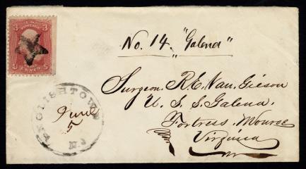 Handwritten and stamped envelope