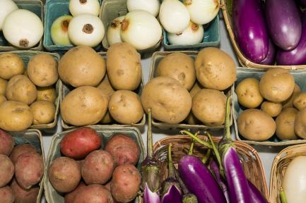 variety of potatoes and produce