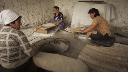 Women baking bread