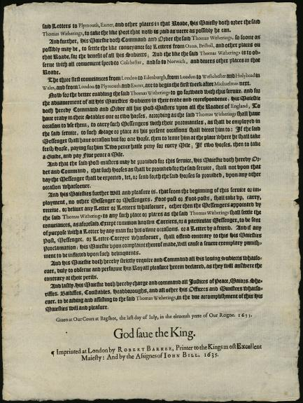 Second page of two-page King's proclamation