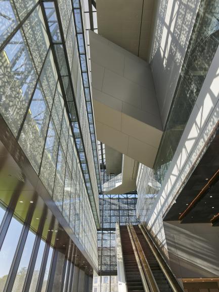 Gallery interior looking up escalator