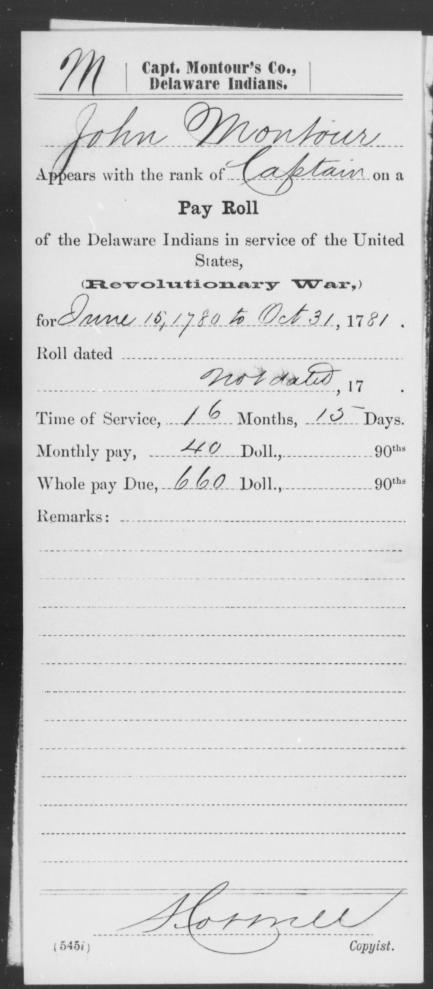 Military service record of John Montour