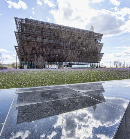 Museum exterior with reflecting pool